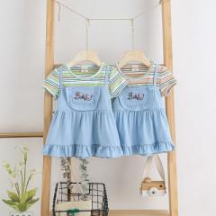 菲儿小屋 女童夏季连衣裙童装假两件裙子夏装洋气女孩短袖公主裙