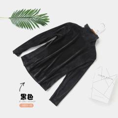 半高领打底衫女加绒长袖t恤秋装2019新款内搭薄款修身黑色上衣