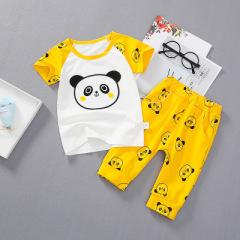 菲儿小屋 拼色熊猫短袖宝宝T恤套装 圆领童春夏短袖两件套