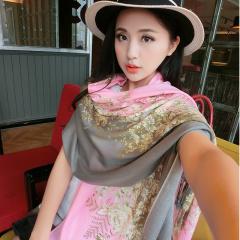 春秋冬季花色围巾四季通用长款两用女士百搭真丝羊毛时尚丝巾披肩