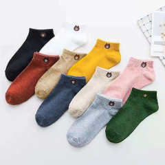 2020新款十色小熊袜卡通女士短袜透气女船袜浅口隐形袜子