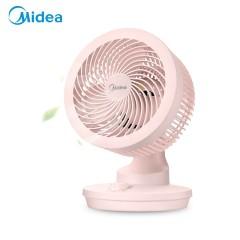 美的 空气循环扇电风扇台式家用小风扇小型台扇迷你电扇办公室宿舍涡轮静音摇头 粉色