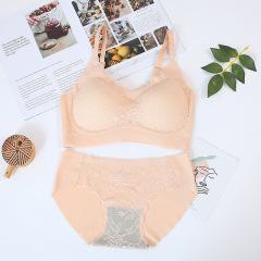 泰国乳胶蕾丝吊带内衣套装海藻内裤小胸聚拢内衣美背薄款文胸