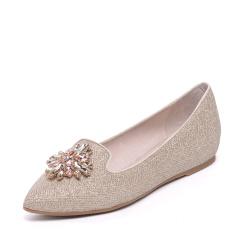 达芙妮(DAPHNE)时尚亮丝尖头水钻平底女单鞋1016101035