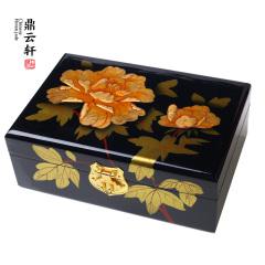 鼎云轩珠宝 玉器珠宝玉石手串礼盒 手镯包装盒 C款 漆器泥金牡丹首饰盒