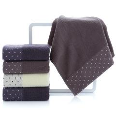 斜月三星 3条装纯棉圆点点毛巾全棉洗脸巾 圆点点纯棉毛巾浴巾套装