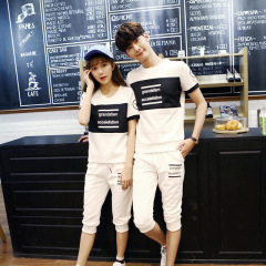 情侣款韩版修身七分裤运动套装你男女同款