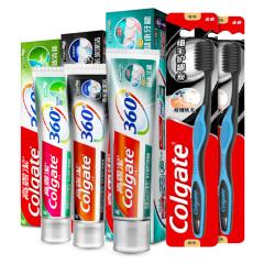 高露洁(Colgate)360牙膏两款120g*2+健康牙龈140g*1+细毛护龈炭牙刷*2