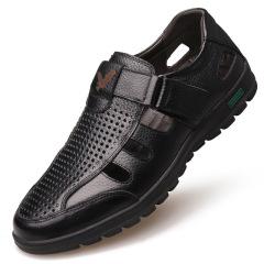 2020夏季新款男士皮鞋清凉透气圆头套脚镂空真皮凉鞋鞋子