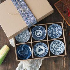 福辰 青花瓷碗陶瓷餐具套装六只装