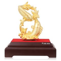中国白银八方进宝镀金双鱼摆件 货号124068
