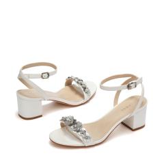 达芙妮时尚亮片花朵休闲粗跟凉鞋1017303033