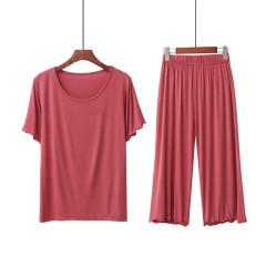 2020新款夏睡衣女 莫代尔圆领短袖7分阔腿裤外穿家居服套装女