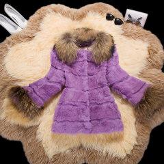 瑷美天使2016冬季新款韩版貉子毛领女士皮草短款带帽兔毛皮草外套