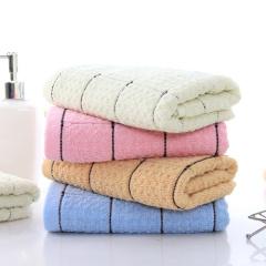 斜月三星 2条装 成人纯棉毛巾 柔软吸水 家用情侣全棉洗脸巾