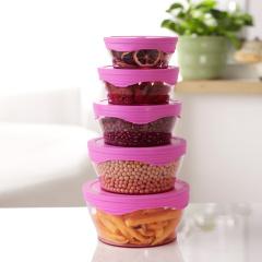 美之扣 硅胶保鲜盒 硅胶厨房密封盒 食品盒 保鲜盖加容器10件套