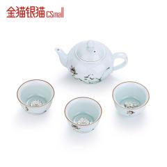 金猫银猫CSmall 典顺通宝 足银999镶莲/鱼茶壶茶杯茶具套装 送礼精美包装