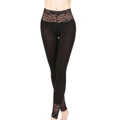 莫代尔棉秋裤女 高腰弹力蕾丝打底裤 修身显瘦薄款衬裤