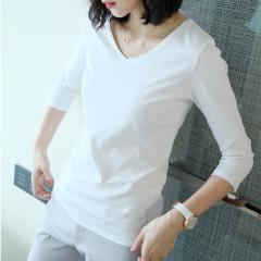 促销 纯棉打底衫中长袖V领白色T恤-原价349现149元