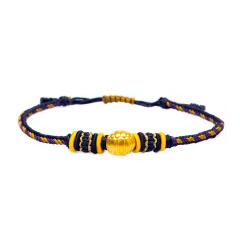 芭法娜 富甲一方 3D硬金黄金足金转运珠手工编织手链 可调节长短