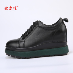 欧尔佳牛皮内增高黑色女鞋J651-1