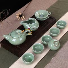 钧艺瑰宝 哥窑陶瓷茶具套装哥窑光面茶具套装哥窑茶具套装