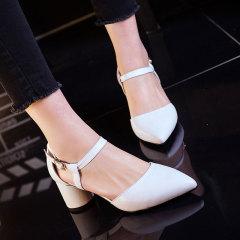 娜箐箐2017春新款韩版粗跟高跟鞋尖头浅口女鞋舒适单鞋女