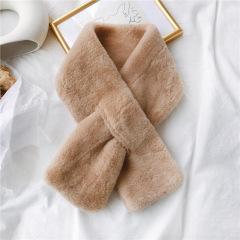 韩版仿毛绒獭兔毛围脖男女通用秋冬季围巾百搭套头保暖