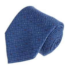 FENDI/芬迪 男士天蓝色底 红白圆点LOGO刺绣领带