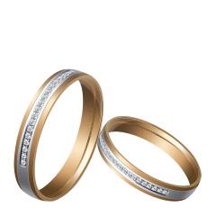 芭法娜 爱河恋曲 法式简约双色18K金钻石情侣对戒  可以接受订制 工期20天