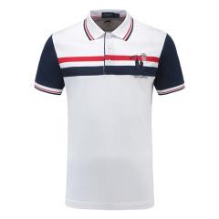 皇家棕榈马球俱乐部 男短袖拼色条纹休闲POLO衫翻领男士T恤13528112