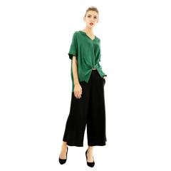 DS双宫丝质衬衣阔腿裤套装