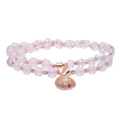 芭法娜 福气满满 天然粉水晶多圈时尚手链 配银饰福袋 璀璨个性