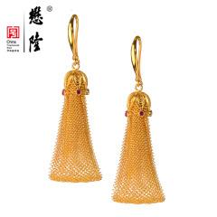 懋隆珠宝G18K金花丝镶嵌手工制作红宝石网丝耳坠耳环燕京八绝正品